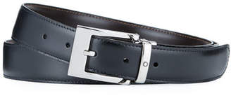 Montblanc Square-Buckle Reversible Leather Belt