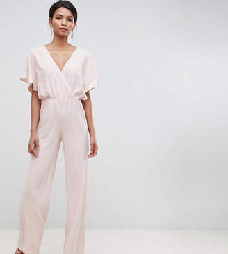 1f682349f288 Silver Bloom wrap cape sleeve jumpsuit in nude