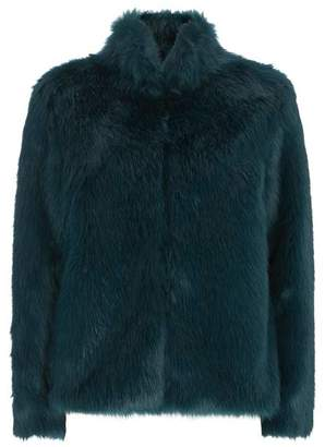 Mint Velvet Bottle Green Faux Fur Coat