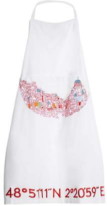 Kilometre Paris - Bay Of Naples Embroidered Cotton Apron - Womens - White Multi