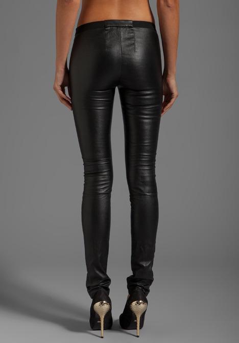 Milly Stretch Plonge Leather Monic Pants