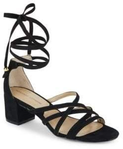 Adrienne Vittadini Alesia Crisscross Suede Sandals $110 thestylecure.com