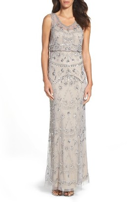 Women's Adrianna Pappell Beaded Mesh Blouson Gown $249 thestylecure.com