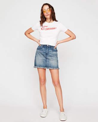 Express High Waisted Striped Denim Mini Skirt