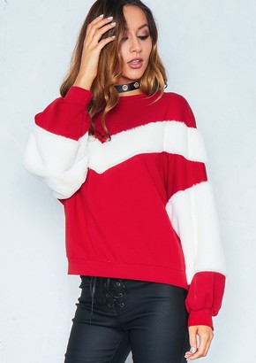 045557bbf7 Missy Empire Missyempire Penny Red Contrast Faux Fur Sleeve Jumper