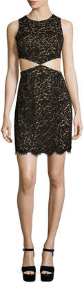 Michael Kors Lace Mini Dress W/Cutouts, Black
