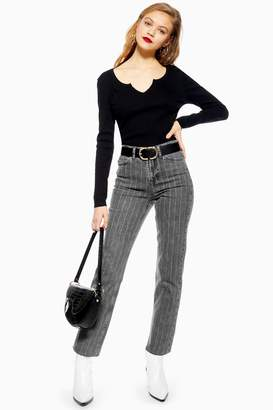 Topshop Womens Washed Black Pinstripe Jeans - Washed Black