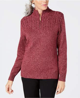 Karen Scott Cotton Zip-Up Sweater