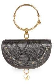 Chloé Nile Half Moon Python-Print Leather Minaudiere