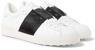 Valentino Garavani Open Striped Leather and Calf Hair Sneakers - White
