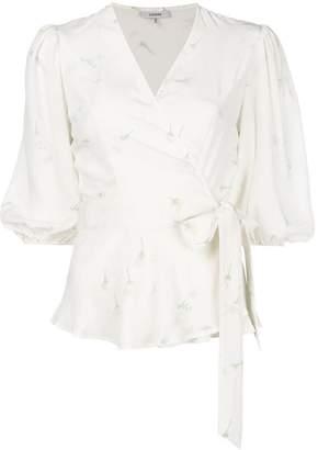 Ganni V-neck waist-tied blouse