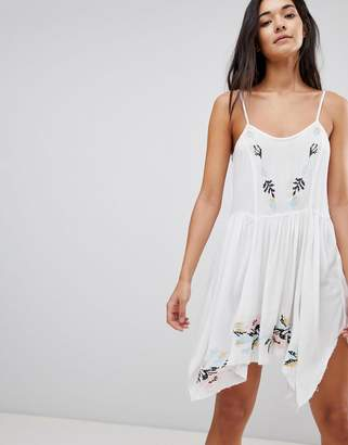 Asos DESIGN Floral Cross Stitch Embroidered Strappy Beach Sundress
