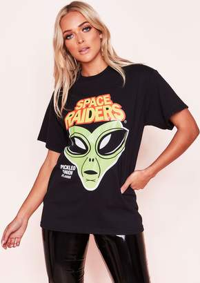 76a5fdcc Missy Empire Missyempire Marin Black Oversized Space Graphic T-Shirt