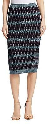 Carven Women's Textured Wool-Cotton Midi Skirt