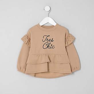 River Island Mini girls Beige tiered peplum hem sweater