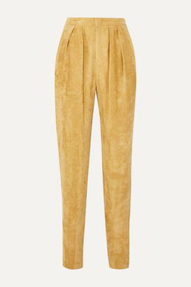 Isabel Marant Fany Pleated Corduroy Tapered Pants - Mustard