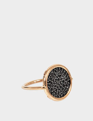 ginette_ny Black Diamond 18-karat rose gold Disc ring