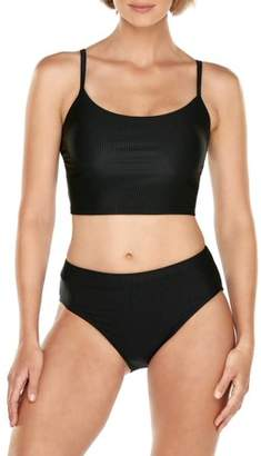 Time and Tru Women's Solid Rib Crop Swimsuit Top