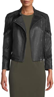 Yigal Azrouel Fringe-Trim Leather Moto Jacket