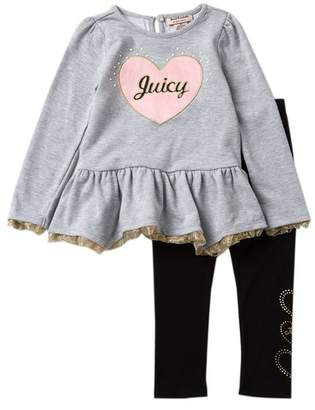 Juicy Couture Heart Applique Tunic & Leggings Set (Toddler Girls)