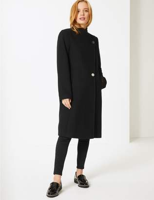Marks and Spencer PETITE Double Breasted Funnel Neck Coat