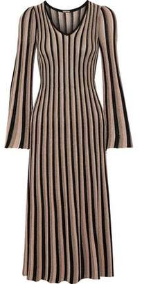 ADAM by Adam Lippes Pleated Metallic Striped Knitted Midi Dress
