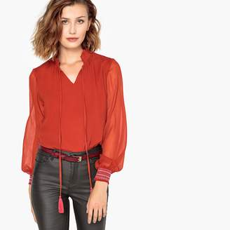 Vero Moda Long-Sleeved High Neck Blouse with Smocking