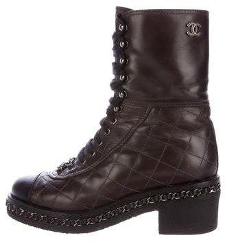 Chanel Cap-Toe Chain-Link Combat Boots