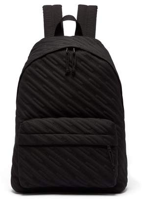 Balenciaga Explorer Logo Embroidered Coated Canvas Backpack - Mens - Black