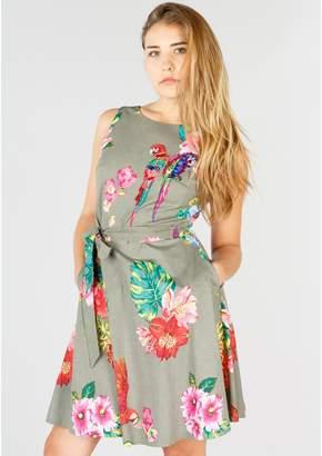 Rene Derhy Tropical Print Skater Dress with Tie Waist