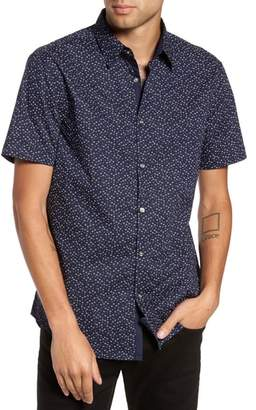 John Varvatos Slim Fit Print Short Sleeve Sport Shirt