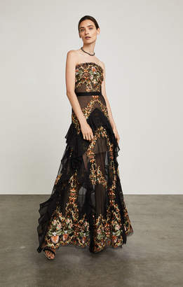 BCBGMAXAZRIA Strapless Floral Embroidered Gown