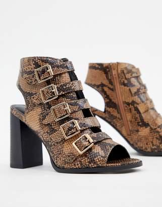 New Look Buckle Detail Snake Heeled Sandal