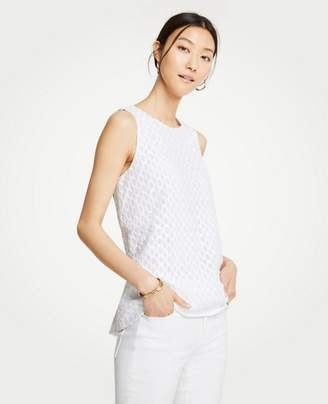 Ann Taylor Petite Wave Embroidered Swing Tank