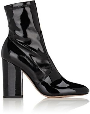 Valentino Women's Stretch-Patent-Leather Ankle Boots-BLACK $945 thestylecure.com