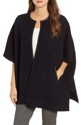 Eileen Fisher Boiled Wool Poncho Jacket with Leather Trim