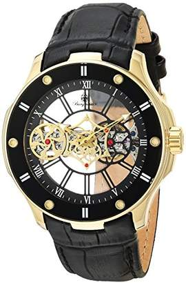 Burgmeister Men's Mechanical Hand Wind Stainless Steel and Leather Casual Watch
