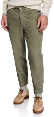 Brunello Cucinelli Men's Micro-Wale Corduroy Flat-Front Pants