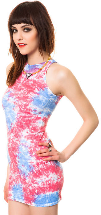 Motel The Zena Dress in 90's Pop Pink and Blue