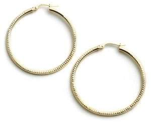 Lord & Taylor 18-Kt Gold Over Sterling Silver Ribbed Hoop Earrings