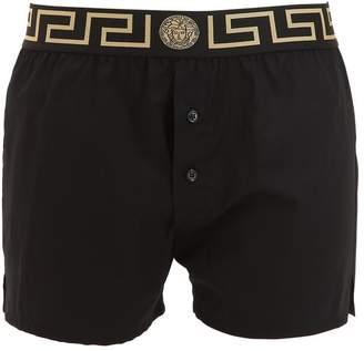 Versace Underwear Greek Motif Cotton Poplin Boxers