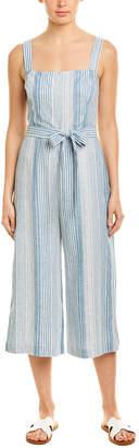 Lavender Brown Tie-Waist Linen-Blend Jumpsuit