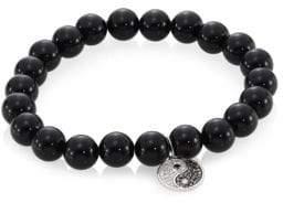 Sydney Evan Onyx, Diamond& 14K Two-Tone Gold Rondelle Yin Yang Bracelet