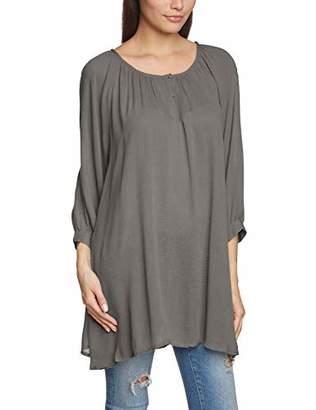 Kaffe Women's 51773-23R Loose Fit Crew Neck 3/4 Sleeve Blouse - Grey - 12