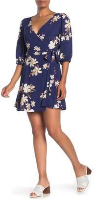 Lush Hawaiian Floral Print Wrap Dress