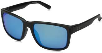 Under Armour UA Assist Square Sunglasses, UA Assist Shiny Crystal Clear/Frosted Clear Frame/Gray / Green Multiflection Lens