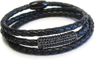 "Liza Schwartz Jewelry Braided Leather Wrap Bracelet ""Sobe Black Bar"""
