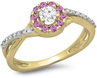 DazzlingRock Collection 10K Yellow Gold Pink Sapphire & White Diamond Ladies Split Shank Bridal Halo Engagement Ring (Size 6.5)
