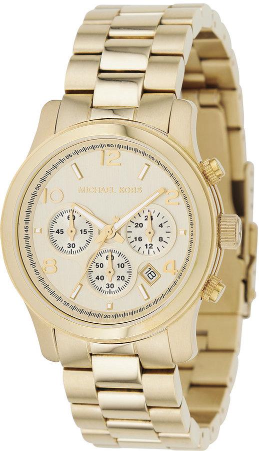 Michael Kors Women's Chronograph Runway Gold-Tone Stainless Steel Bracelet Watch 38mm MK5055
