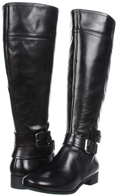 Nine West - Shizaw Wide Calf (Black Leather) - Footwear